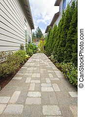 jardim, tijolo, paver, caminho, passagem, árvore