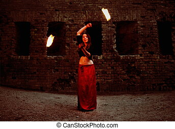 Girl Performing with Fire