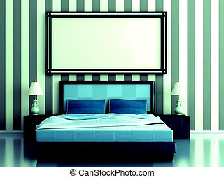 bedroom with a bed and bedside tables in blue tones