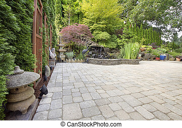 Backyard Asian Inspired Paver Patio Garden - Backyard Garden...