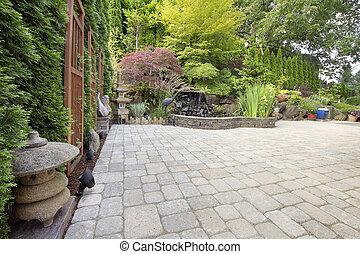 quintal, Asiático, inspirado, paver, pátio,...