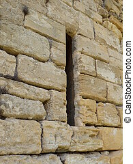 Arrow slit in medieval wall