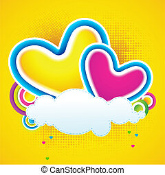 Love Cloud - illustration of colorful heart on love cloud
