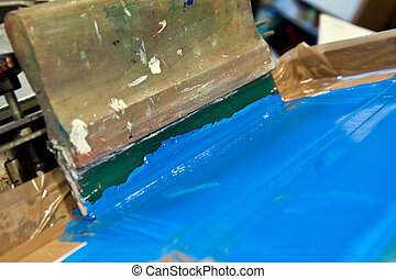 Squeegee blade and holder - squeegee blade in hand holder on...