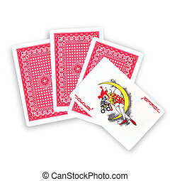 Joker card - Hand cards and a joker on a white background