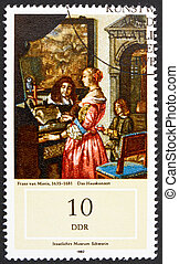 Postage stamp GDR 1982 Music Making at Home by Frans van...