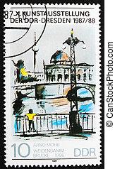 Postage stamp GDR 1987 Weidendamm Bridge by Arno Mohr