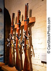 Guns - Collection of antique weapons in a museum