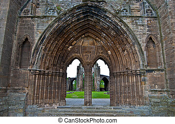 Elgin cathedral - ruin of the huge cathedral of Elgin,...