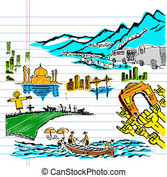 India on Paper - illustration of doodle of colorful India on...