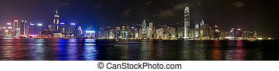 hong kong skyline at evening - panoramic view of the Hong...