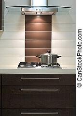Modern kitchen - Saucepan on a gas fryer