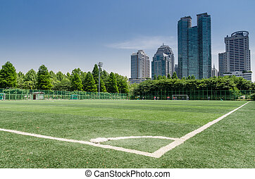 grass field football ground city - public park in Seoul in...