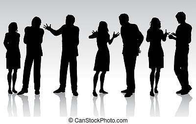business conversations - Silhouettes of business people