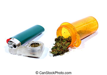 Medical Marijuana with Pipe - Isolated medical marijuana bud...
