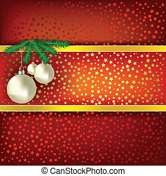 Christmas balls and stars red vector background - Christmas...