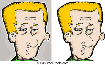 Tired Man - Cartoon of a tired European man with bloodshot...