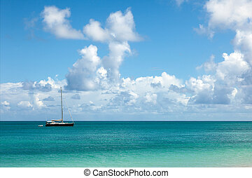 Seascape with Anchored Yacht - Beautiful Sunny Seascape with...