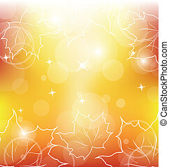 Autumn orange background with maple leaves - Illustration...
