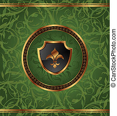 Illustration royal golden frame with medallion and fleur de lis for design packing - vector