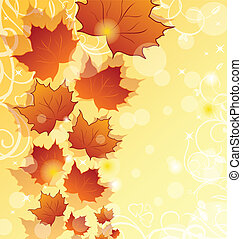 Autumn floral background with maple leaves - Illustration...