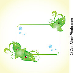 Eco friendly frame with green leaves and ladybugs