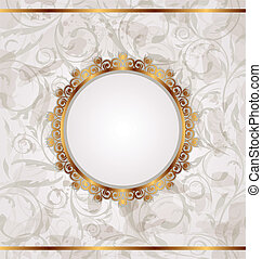 Golden retro frame, seamless floral texture - Illustration...