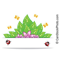 Illustration eco friendly card with green leaves, flower, butterfly and ladybug - vector
