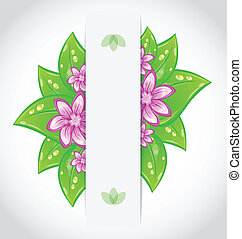 Illustration bio concept design eco friendly banner with green leaves and flowers - vector