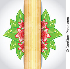 Illustration eco friendly background with green leaves, flower, wooden texture - vector