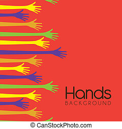 hands backgorund - hands of different colors cultural and...