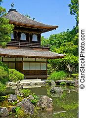 Ginkakuji, -, prata, Pavilhão, -, Zen, Templo,...