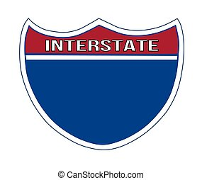 Blank Interstate Road Sign - Illustration of a blank...