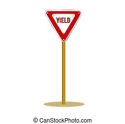 Yield Sign on a Pole - Illustration of a red and white yield...