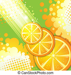 Slices orange with rays of light