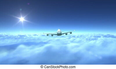 Airplane flying over clouds