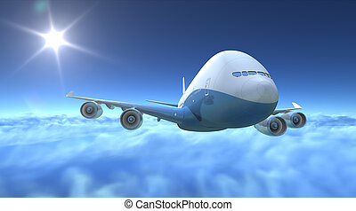 Airplane flying over clouds, 3d render