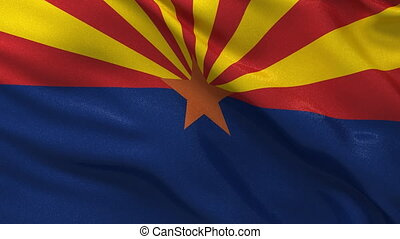 Seamless loop of Arizona state flag - Flag of Arizona waving...