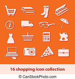 shopping icons - 16 shopping icons collection