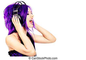 purple expession - Portrait of a punk girl in headphones....