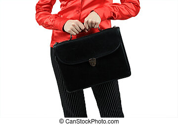 Portfolio in a hand - The girl in a red shirt costs with a...
