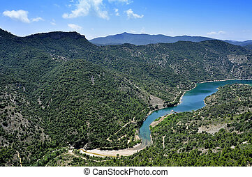 Siurana River in Tarragona Province, Spain - aerial view of...