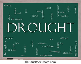 Drought Word Cloud Concept on a Blackboard