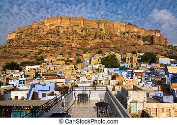 Meherangarh fort dominating the city - Jodhpur, Rajasthan,...