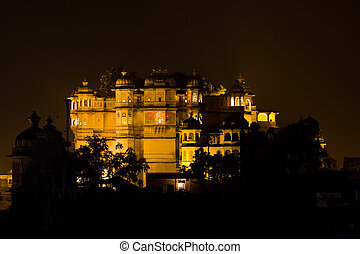 Udaipur City palace at night - Night view of the City Palace...
