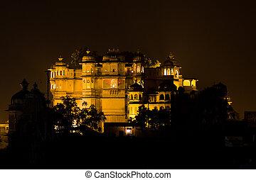 Udaipur, ville, palais, nuit