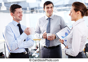 Business break - Office workers communication during the...