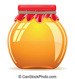 honey in the pot with a red cover vector illustration...