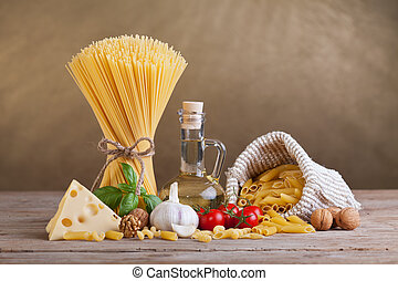 Mediterranean cuisine and diet ingredients - pasta and fresh...