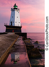 Ludington Light at Sundown - The North Breakwater Lighthouse...